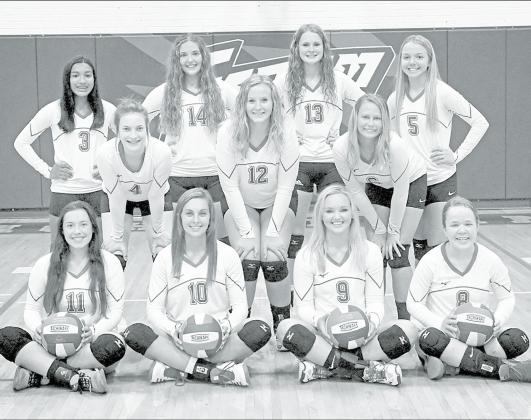 Members of the 2020 High Plains volleyball team include front row, from left: Shelby Warnick, Brooke Bannister, Brianna Wilshusen, Sarah Person. Middle row: Alexis Kalkwarf, Gordona Howell, Hannah Hodgman. Back row: Esperanzn Lesiak, Emily Ackerson, Kenzie Wruble, Hailey Lindburg. News-Register/Richard Rhoden