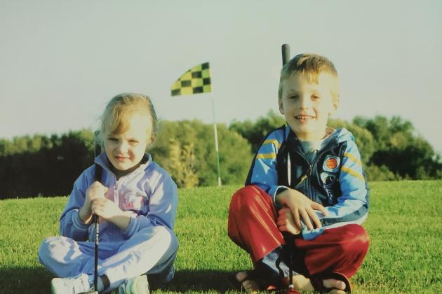 A young Danica looks far less enthused about the sport than her brother Caleb.