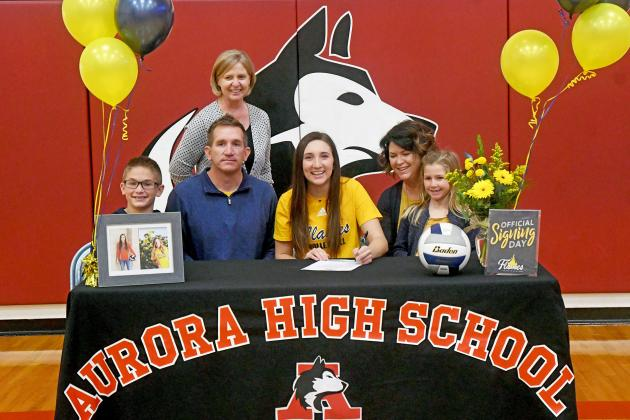 Kassidy Hudson signed her letter of intent with Saint Mary alongside her parents, Cameron and Holly, brother Cooper and sister Hadley as well as Aurora coach Lois Hixson.