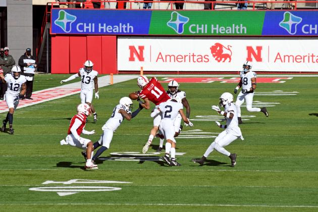 Austin Allen hauls in a pass during Nebraska's 30-23 win over Penn State Saturday.