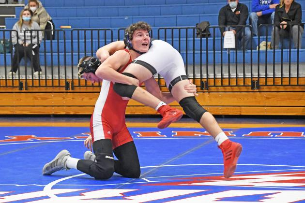 HPC's Hunter Gress picked up a second period pinfall victory over Cross County/Osceola's Jakob Hogan.Cutline