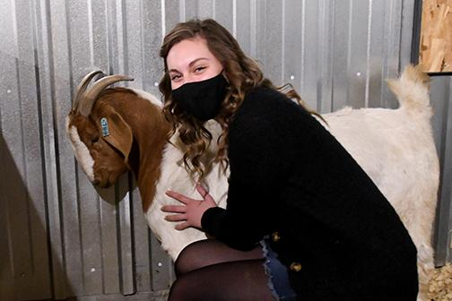 High Plains FFA President Brooke Bannister enjoys spending time with all of HPCs animals, including checking in on this particular pregnant nanny goat.