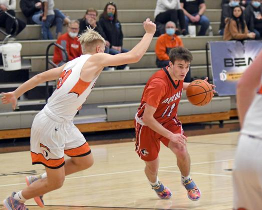 Andrew Bell drives the lane during Aurora's 39-36 loss to Beatrice in the B-6 district final Saturday.