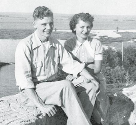 Max and JoAnn Friesen pose for a photo at Lake McConaughy during their honeymoon in 1950. Courtesy photo