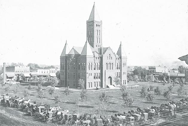 The Hamilton County Courthouse, set to celebrate its 125th birthday, was accepted by former commissioners as the new county courthouse in September of 1895. Photo courtesy of the Plainsman Museum