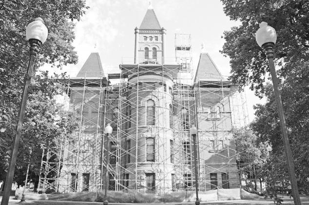 The Hamilton County Courthouse was covered head to toe in scaffolding for its 2005 roof and window restorations. News-Register file photo