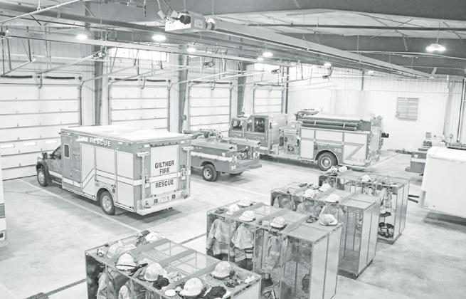 This new, larger, space allows ample elbow room for volunteer fire and rescue personnel. Pictured here are four of the five bays, including the wash bay, and member gear lockers. News-Register/Cheyenne Rowe